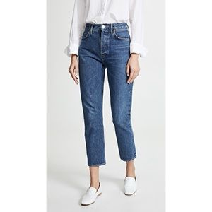 AGOLDE NEW high rise cropped slim straight jeans